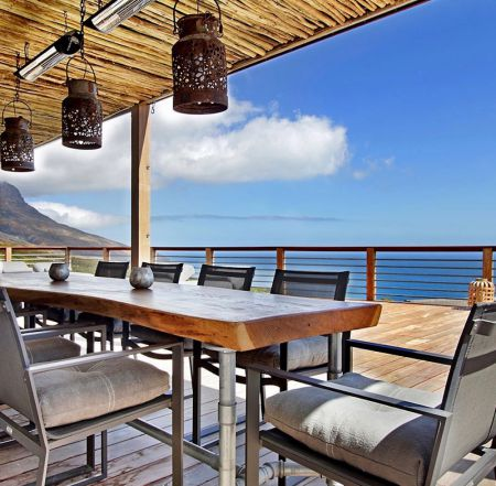 la Baia outside table with heaters and sun screens